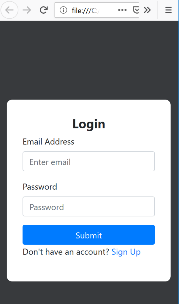 Mobile view of login form