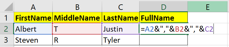 concatenate string values with comma using ampersand operator