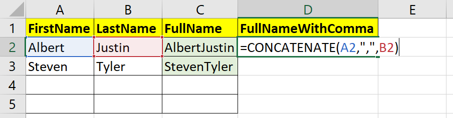 concatenate strings with cell values in Excel