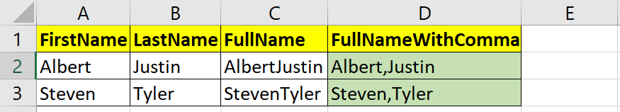 Added comma between FirstName and LastName in Excel