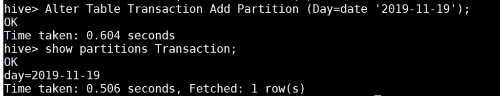 Adding the new partition in the existing Hive table
