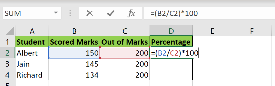 Calculate percentage of marks in Excel