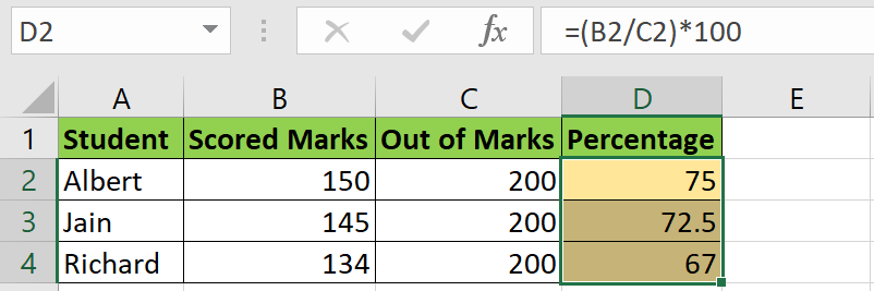 percentage in Excel
