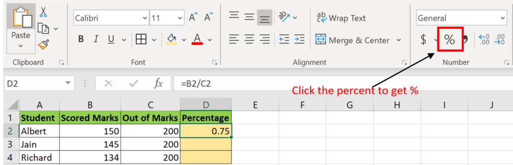 Get the Percentage sign in Excel