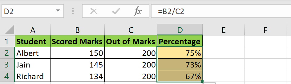 Format as percent in Excel