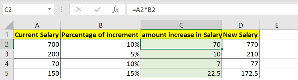 Percentage of amount in Excel