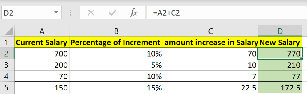 New salary calculation in excel