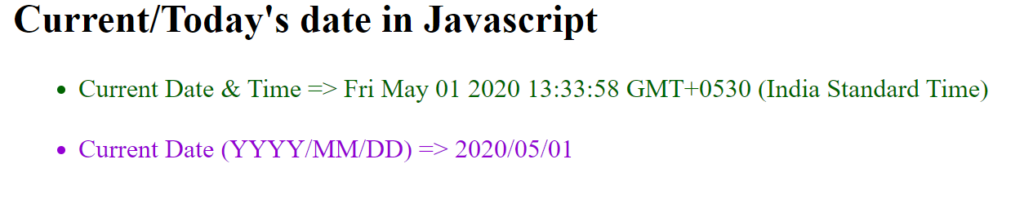 Get the current date in Javascript