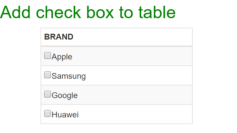 Adding check box to Bootstrap table