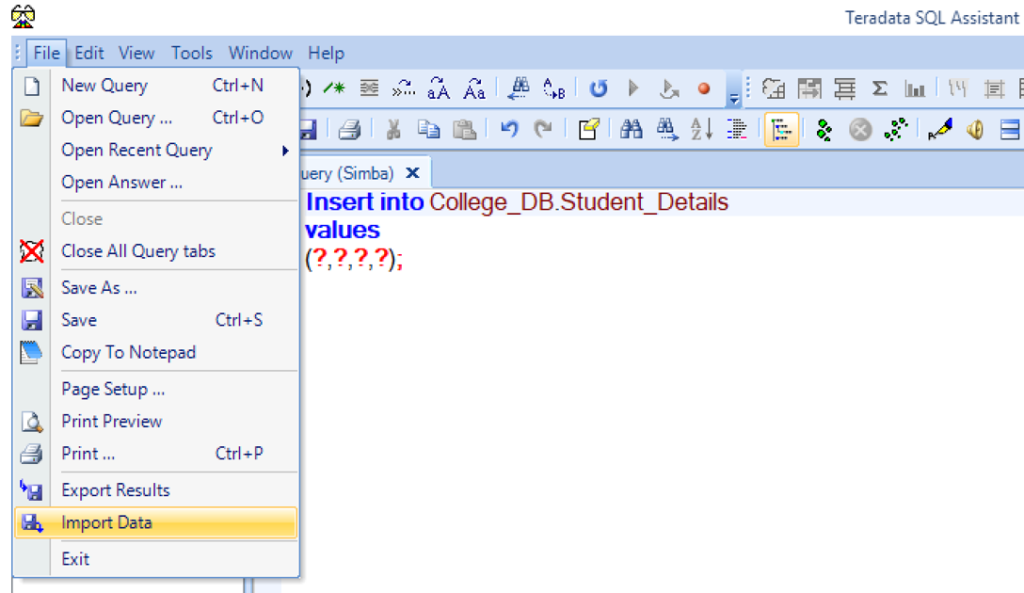 Import data from File menu in Sql assitant