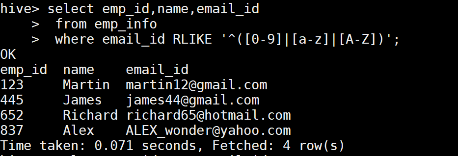 RLIKE function example in Hive