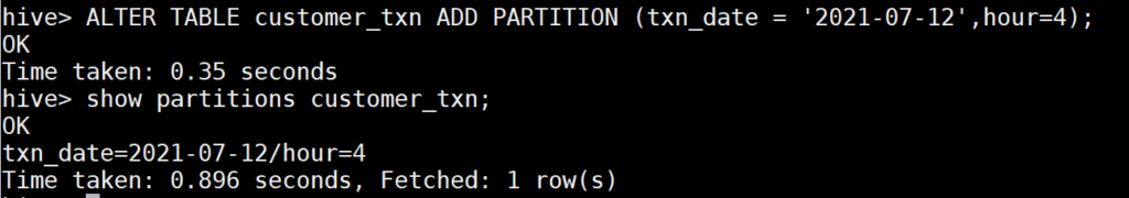 Alter table to add hourly partition in Hive